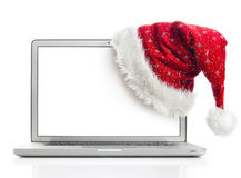 Santa hat on laptop Royalty Free Stock Photography