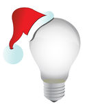 Santa hat and lightbulb Royalty Free Stock Image