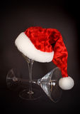 Santa Hat on Martini Glass Royalty Free Stock Image