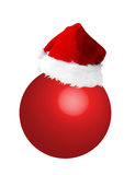 Santa hat on new year ball Stock Photo