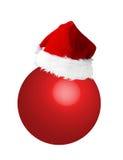 Santa hat on new year ball. Santa hat on red new year ball royalty free illustration