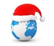 Santa Hat over Earth Globe Royalty Free Stock Photography