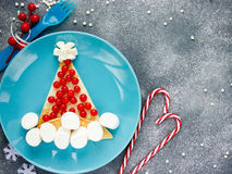 Santa hat pancake for breakfast Christmas and New Year fun food Royalty Free Stock Photo