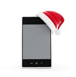 Santa hat phone Stock Photography