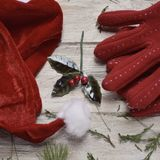 Santa hat, red gloves and holly. Closeup of a santa hat, a pair of cozy red gloves, some twigs of pine tree and a twig of holly on a white rustic wooden surface Stock Photos