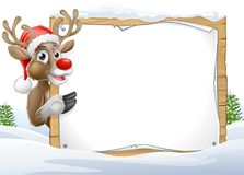 Santa Hat Reindeer Christmas Sign Photographie stock libre de droits
