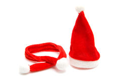 Santa hat and scarf for christmas Royalty Free Stock Photo