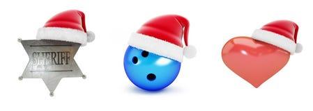 Santa hat set on a white background 3D illustration, 3D rendering vector illustration