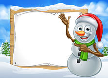 Santa Hat Snowman Cartoon Christmas Sign Stock Image