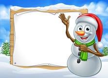 Santa Hat Snowman Cartoon Christmas tecken Fotografering för Bildbyråer