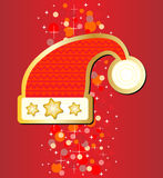 Santa hat sticker on red background Stock Images
