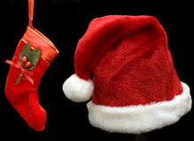 Santa hat and stocking Stock Images