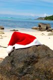 Santa hat on tropical beach Royalty Free Stock Photography