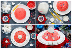 Santa hat or winter hat Christmas cake preparation collage. New. Year dessert, Christmas treat for kids, recipe step by step Stock Photo