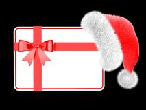 Santa Hat With A Gift Card Royalty Free Stock Photography