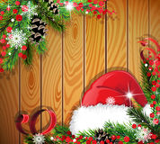 Santa Hat on wooden background Royalty Free Stock Photo