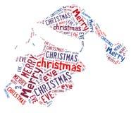 Santa hat word shape design with text. Santa hat word shape design with text,merry christmas eve Royalty Free Stock Photo