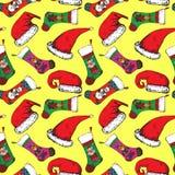 Santa hats, Christmas sock with Santa, bear, deer and snowman on yellow background. Santa hats, Christmas sock with Santa, bear, deer and snowman, hand drawn stock illustration
