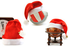 Santa  hats collection on white. Stock Photography