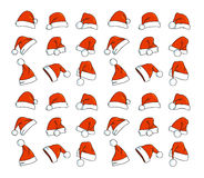 Santa hats doodles Royalty Free Stock Image