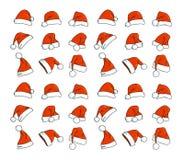 Santa hats doodles Royalty Free Stock Image