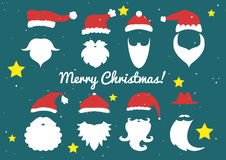 Santa hats, moustache and beards. Christmas elements Royalty Free Stock Photo