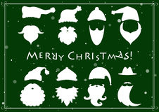 Santa hats, moustache and beards. Christmas elements Royalty Free Stock Image
