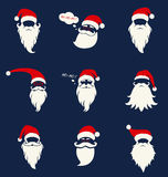 Santa Hats, Mustache And Beards. Stock Images