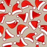 Santa hats seamless pattern Royalty Free Stock Photos