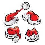 Santa hats set. Set of Santa Claus hats isolated Royalty Free Stock Images