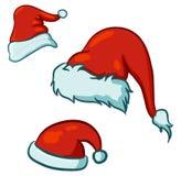 Santa hats. Vector sketch drawing of santa hats vector illustration