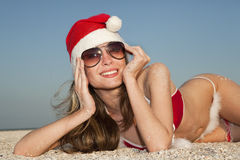 Santa having rest on the beach Royalty Free Stock Images