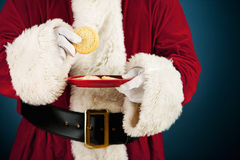 Santa: Having Sugar Cookie Snack Stock Photo