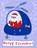Santa in a helicopter. Santa flies in a helicopter and congratulates on Christmas Vector Illustration