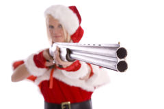 Santa Helper Aiming Shotgun Stock Image