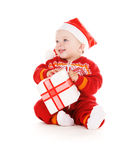 Santa helper baby with christmas gift Stock Images