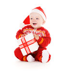 Santa helper baby with christmas gift Royalty Free Stock Photography