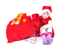 Santa helper with bag of gifts Royalty Free Stock Photo