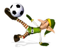 Santa helper cartoon footballer volley Royalty Free Stock Photo
