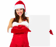 Santa helper Christmas girl with banner. Royalty Free Stock Photography