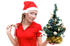Santa helper with Christmas tree Royalty Free Stock Photography