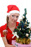 Santa helper with Christmas tree and gifts Stock Images