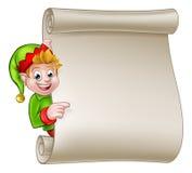 Santa Helper Elf Christmas Scroll Royalty Free Stock Image