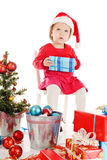 Santa helper with gift Royalty Free Stock Photos
