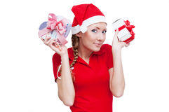 Santa helper with gifts Royalty Free Stock Images