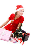 Santa helper and gifts Royalty Free Stock Photo