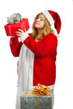 Santa helper with gifts Stock Image