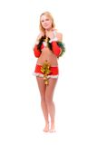 Santa helper girl with christmas bells Royalty Free Stock Photo