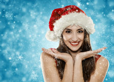 Santa helper girl Royalty Free Stock Image
