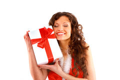 Santa helper girl with gift box Royalty Free Stock Photos